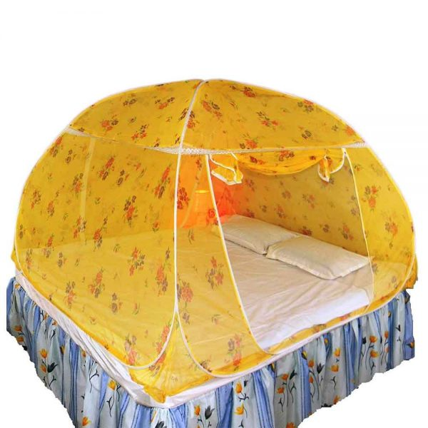 Healthy Sleeping Foldable Polyester Double Bed Mosquito Net (Yellow)