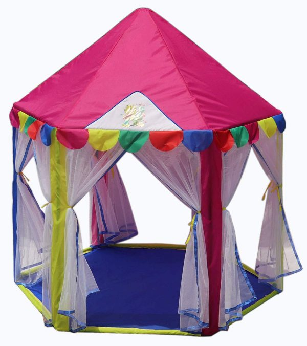 Homecute Hexagonal Hut Type Play Tent House Six Door- Pink