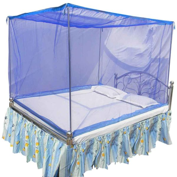 HOMECUTE Polyester Double Bed Cotton Edge Traditional Mosquito Net (6X7ft, Blue)