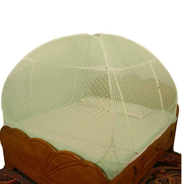 Foldable Polyester Double Bed Mosquito Net - Embroidery (Sea Green Prime)