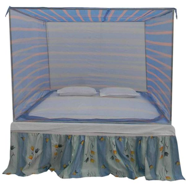 Homecute SE110 Nylon Strip Check Simple Double Bed Mosquito Net 6 X 7 ft - Blue