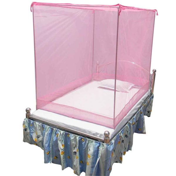 HOMECUTE Polyester Single Bed Cotton Edge Traditional Mosquito Net (4 X6 ft, Pink)